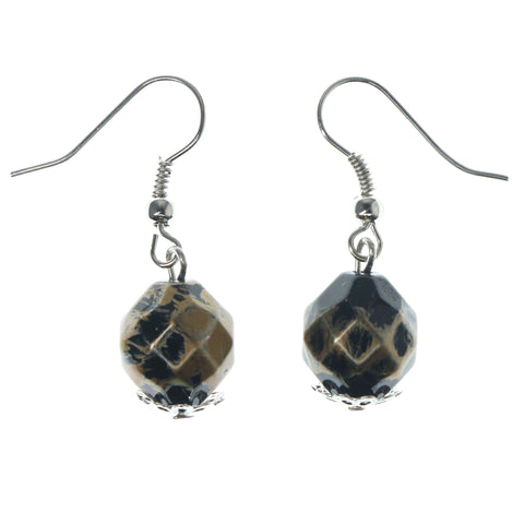 Brown & Silver-Tone Colored Metal Dangle-Earrings With Bead Accents #1143