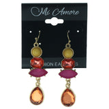 Gold-Tone & Multi Colored Metal Dangle-Earrings With Faceted Accents #1144