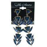 Blue & Gold-Tone Colored Metal Dangle-Earrings With Crystal Accents #1147