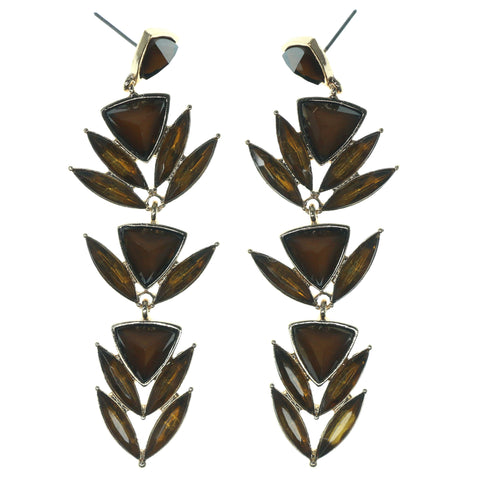 Brown & Gold-Tone Colored Metal Dangle-Earrings With Crystal Accents #1149