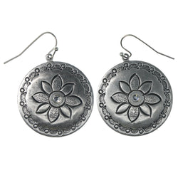 Flower Dangle-Earrings With Crystal Accents  Silver-Tone Color #1150
