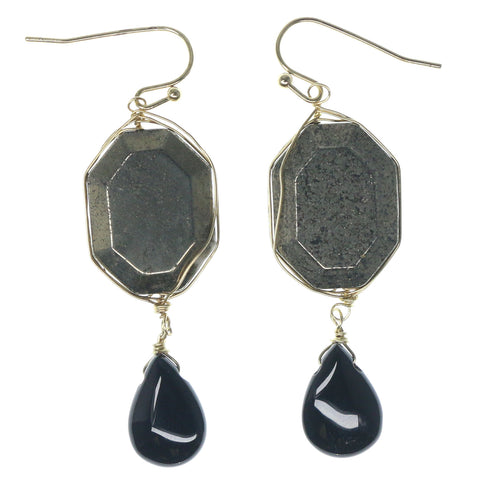 Gold-Tone & Black Colored Metal Dangle-Earrings With Bead Accents #1152