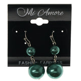 Green & Silver-Tone Colored Metal Dangle-Earrings With Bead Accents #1160