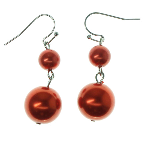 Red & Silver-Tone Colored Metal Dangle-Earrings With Bead Accents #1161