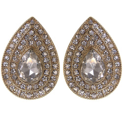 Stud Earrings With Crystal Accents Gold-Tone & Silver-Tone Colored #1166 - Mi Amore