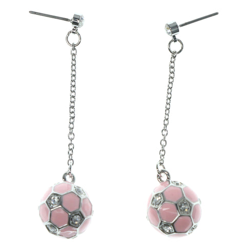 Soccer Drop-Dangle-Earrings With Crystal Accents Pink & Silver-Tone Colored #1170