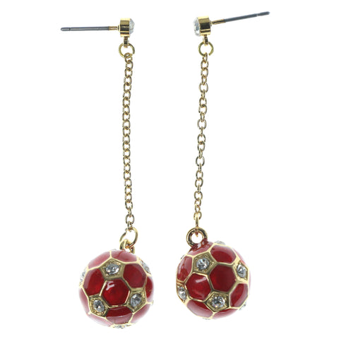 Soccer Drop-Dangle-Earrings With Crystal Accents Red & Gold-Tone Colored #1171