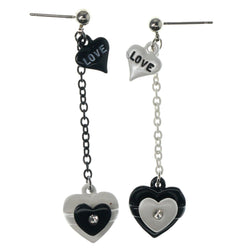 Heart Love Drop-Dangle-Earrings With Crystal Accents White & Black Colored #1172