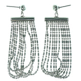 Silver-Tone Metal Dangle-Earrings With Crystal Accents #1185