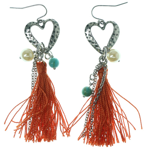 Heart Dangle-Earrings With Tassel Accents Silver-Tone & Orange Colored #1190