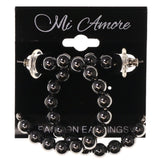 Black & Silver-Tone Colored Metal Dangle-Earrings With Bead Accents #1196