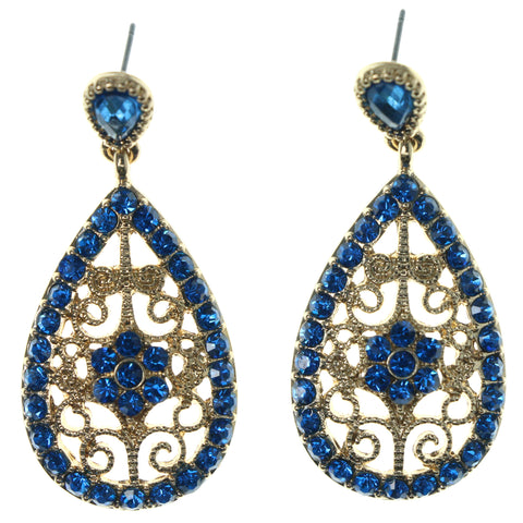 Gold-Tone & Blue Colored Metal Dangle-Earrings With Crystal Accents #1200