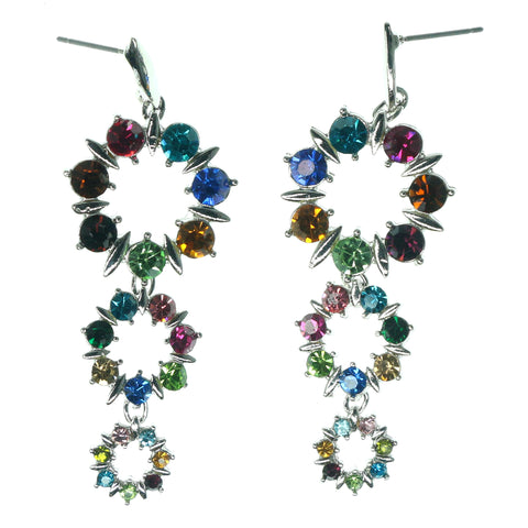 Silver-Tone & Multi Colored Metal Dangle-Earrings With Crystal Accents #1201