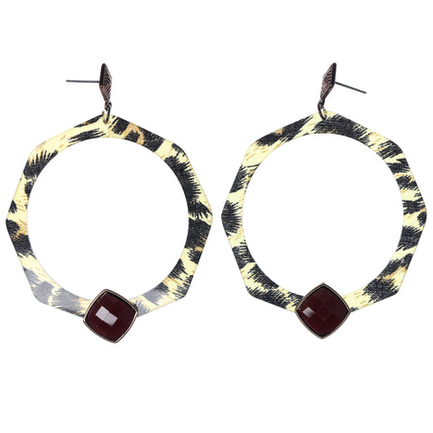 Cheetah Dangle-Earrings With Faceted Accents Brown & Red Colored #1202