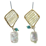 White & Blue Colored Metal Dangle-Earrings With Bead Accents #1208