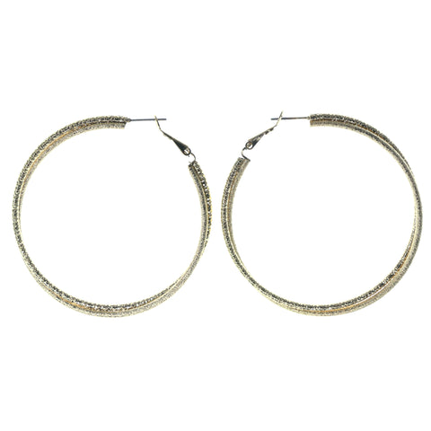 Gold-Tone Metal Hoop-Earrings #1210