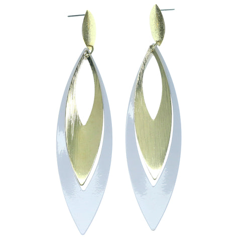 White & Gold-Tone Colored Metal Dangle-Earrings #1216