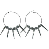 Spike Hoop-Earrings With Crystal Accents  Silver-Tone Color #1218