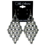 Gray Metal Dangle-Earrings With Crystal Accents #1224