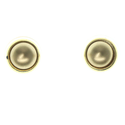 Gold-Tone & Brown Colored Metal Stud-Earrings With Bead Accents #1226