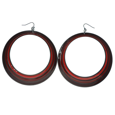 Red & Bronze-Tone Colored Metal Dangle-Earrings #1228