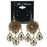 Gold-Tone & Brown Colored Metal Dangle-Earrings With Crystal Accents #1230
