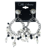 Silver-Tone & White Colored Metal Dangle-Earrings With Bead Accents #1232