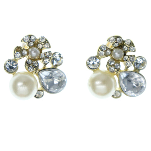White & Gold-Tone Colored Metal Stud-Earrings With Crystal Accents #1236