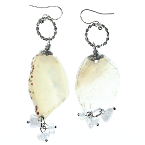 Silver-Tone & White Colored Metal Dangle-Earrings With Stone Accents #1246