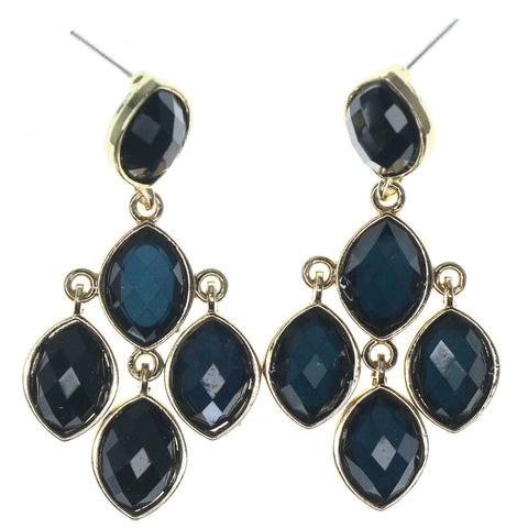 Blue & Gold-Tone Colored Metal Dangle-Earrings With Faceted Accents #1247