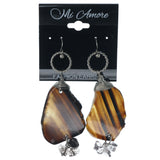 Brown & Silver-Tone Colored Metal Dangle-Earrings With Stone Accents #1249