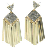 Gold-Tone & Silver-Tone Colored Metal Dangle-Earrings With Crystal Accents #1252