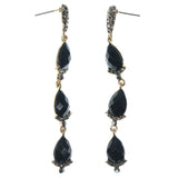 Black & Gold-Tone Colored Metal Dangle-Earrings With Crystal Accents #1254