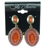 Pink & Gold-Tone Colored Metal Dangle-Earrings With Faceted Accents #1256