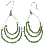 Green & Silver-Tone Colored Metal Dangle-Earrings With Bead Accents #1260