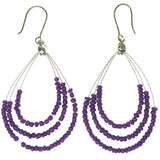 Purple & Silver-Tone Colored Metal Dangle-Earrings With Bead Accents #1262