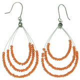 Orange & Silver-Tone Colored Metal Dangle-Earrings With Bead Accents #1263