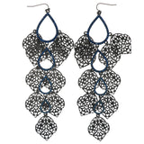 Silver-Tone & Blue Colored Metal Dangle-Earrings With Crystal Accents #1264