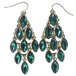 Gold-Tone & Green Colored Metal Chandelier-Earrings With Faceted Accents #1266