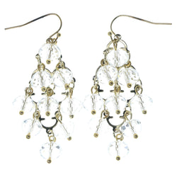 Gold-Tone & Clear Colored Metal Chandelier-Earrings With Faceted Accents #1272