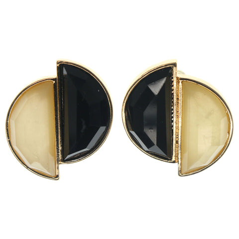 Black & White Colored Metal Stud-Earrings With Faceted Accents #1278