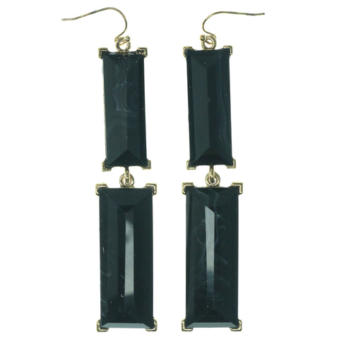 Green & Gold-Tone Colored Metal Dangle-Earrings With Faceted Accents #1279