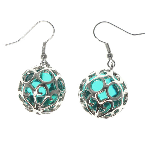 Silver-Tone & Green Colored Metal Dangle-Earrings With Bead Accents #1282