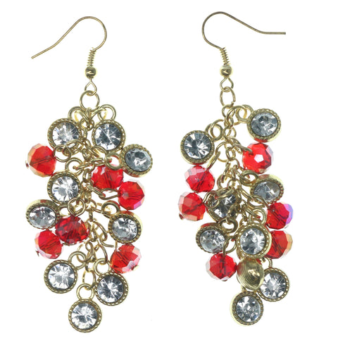 Red & Gold-Tone Colored Metal Dangle-Earrings With Crystal Accents #1284