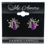 Beetle Stud-Earrings With Crystal Accents Silver-Tone & Purple Colored #1285