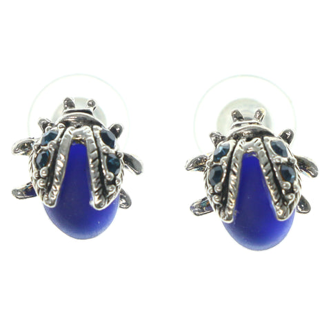 Beetle Stud-Earrings With Crystal Accents Silver-Tone & Blue Colored #1286