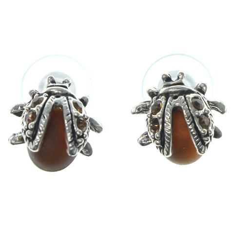 Beetle Stud-Earrings With Crystal Accents Silver-Tone & Brown Colored #1287