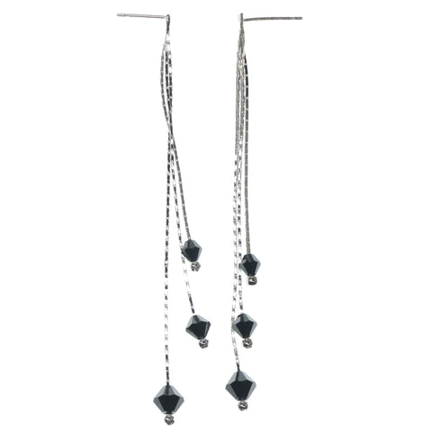 Silver-Tone & Black Colored Metal Dangle-Earrings With Bead Accents #1293