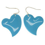 Heart Dangle-Earrings Blue & Silver-Tone Colored #1294