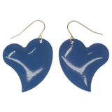 Heart Dangle-Earrings Blue & Silver-Tone Colored #1295
